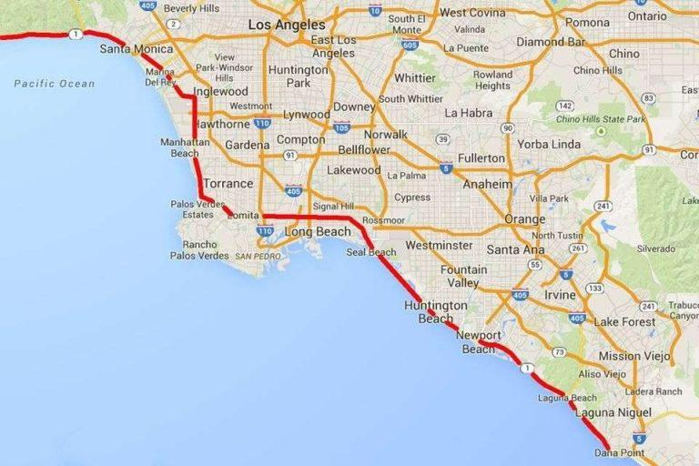 المسافات بين مدن ولاية كاليفورنيا