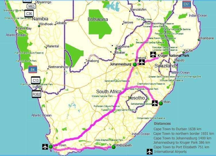 المسافات بين مدن جنوب افريقيا