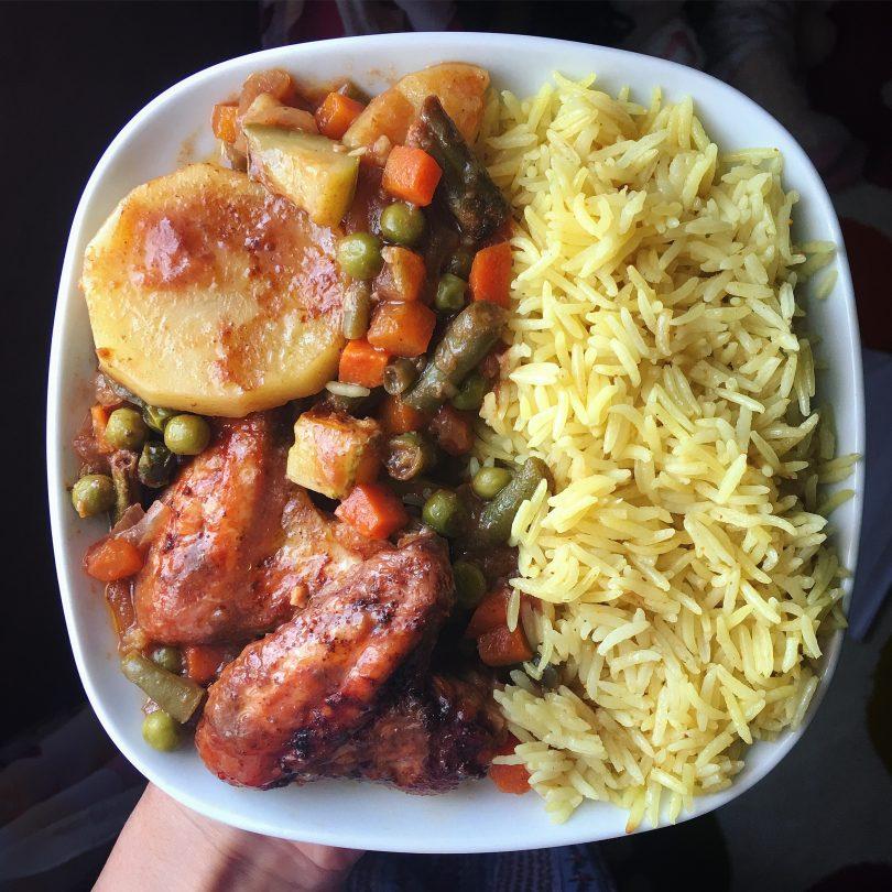 طريقة عمل أرز بالخضار وصدور الدجاج
