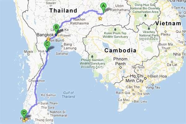 المسافات بين مدن تايلند